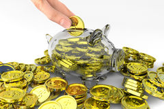 Full piggy bank with coins Stock Photos