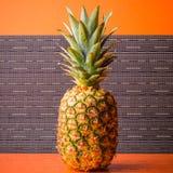 Full pineapple on gray stripes background, square shot. Picture presents full pineapple on gray stripes background, square shot Royalty Free Stock Image