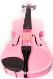 Full Pink Violin Isolated. Full on shot of a pink violin isolated against a white background (over white stock photos