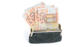 Full plånbok på en vit bakgrund Arkivfoton