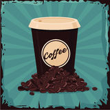 Full plastic cup of coffee bean. Coffee-to-go Royalty Free Stock Photo