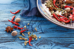Full plate of asian spices with chilli on blue table Stock Photography