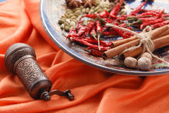 Full plate of asian spices with chilli on blue table Stock Photos