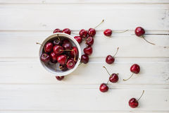 Full plate of cherries Royalty Free Stock Photo