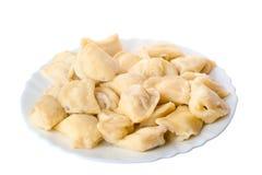 Full plate of delicious dumplings Stock Images