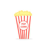 Full popcorn bucket. Vector illustration isolated on white background Royalty Free Stock Photos