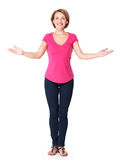 Full portrait of adult happy woman with presentation gesture Stock Images