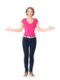 Full portrait of adult happy woman with presentation gesture royalty free stock images