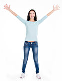 Full portrait of a beautiful young happy woman with raised hands Royalty Free Stock Photos