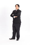 full portrait of fat businessman in black suit Stock Photography