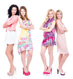 Full portrait of group young happy women . Royalty Free Stock Images