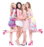 Full portrait of group young happy women. Royalty Free Stock Photography