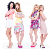 Full portrait of group young women . Royalty Free Stock Photography