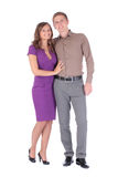 Full portrait of happy attractive couple man and woman. Full portrait of happy attractive couple men and women isolated on white background Royalty Free Stock Photography