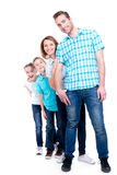 Full portrait of the happy european family with children. Looking at camera -  isolated on white background Royalty Free Stock Photos