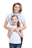 Full portrait of happy mother and young daughter Royalty Free Stock Photo