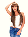 Full portrait of a sensual beautiful indian woman. With long hair - isolated on a white background stock photo