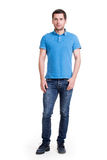 Full portrait of smiling happy handsome man in blue t-shirt. Full portrait of smiling happy handsome man in blue t-shirt - isolated on white royalty free stock images