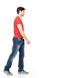 Full portrait of smiling  walking man Royalty Free Stock Photo