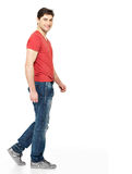 Full portrait of smiling  walking man Royalty Free Stock Photos