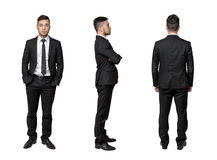 Full portrait of young business man, arms crossed his chest, in pocket, isolated on a white background Royalty Free Stock Images