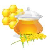Full pot of honey Stock Image