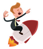 Full power forward businessman on rocket  illustration cartoon character Royalty Free Stock Photography
