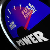 Full Power Fuel Gauge Strength Muscular Commanding Energy. A fuel gauge with needle pointing to Full Power to illustrate being at maximum strength or force Royalty Free Stock Photos