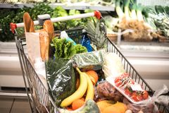 Full of products shopping trolley in supermarket. royalty free stock photo
