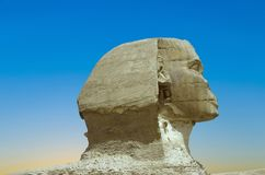 Full profile of the Great Sphinx in Giza stock photography
