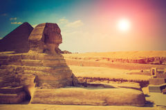 The full profile of the Great Sphinx with the pyramid in the background in Giza. Stock Photos