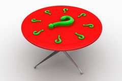 Full Of Question Marks On A Table Stock Photo