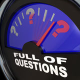 Full of Questions Fuel Gauge Asking for Answers Royalty Free Stock Photography