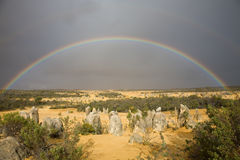 Full rainbow over pinnacles Stock Photo