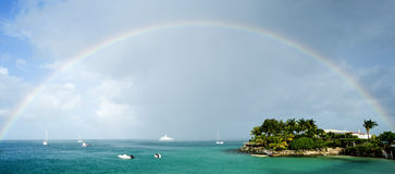 Full Rainbow Over The Caribbean Sea Stock Images