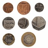 Full range of coins of United Kingdom isolated over white Stock Photo