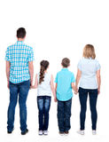 Full rear portrait of the  family with children Royalty Free Stock Image
