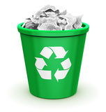 Full recycle bin. Creative abstract paper recycling, environment protection and nature saving business concept: green office recycle bin with recyclable symbol Stock Photo