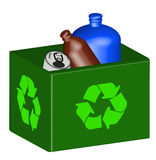 Full recycling bin. Recycle bin with plastic and tin in it - vector Stock Photos
