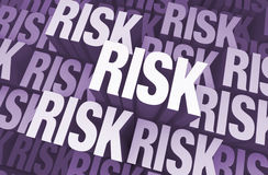 Full Of Risk. Background filled with the word RISK at various heights Stock Photos