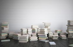 The full room of books on the floor, the concept of intense study. 3D render Royalty Free Stock Images