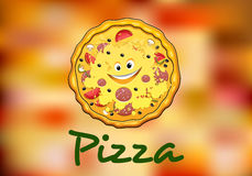 Full round cartoon pizza Stock Image