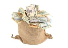 Full sack with dollar bills. Royalty Free Stock Photography