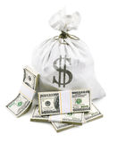 Full sack with dollars money in bundle. Full sack with dollars money packed in bundles on white background Royalty Free Stock Photo