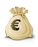 Full sack with euro money isolated Stock Photography