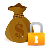 Full sack locked by gold lock Royalty Free Stock Photography