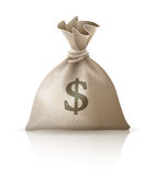 Full sack with money dollars Stock Image