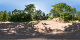 Full seamless panorama 360 by 180 angle view ruined abandoned military fortress of the First World War in forest in. Equirectangular spherical projection stock image