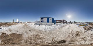 Full seamless panorama 360 angle view in winter snow field place site construction of a mining plant in equirectangular royalty free stock images