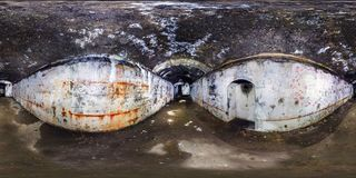 Full seamless panorama 360 degrees angle view inside ruined abandoned military underground casemates fortress of the First World royalty free stock photography